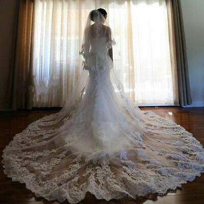 3.5m Long Bridal Veils Wedding Veil Cathedral Lace veils white  two layer  *Comb