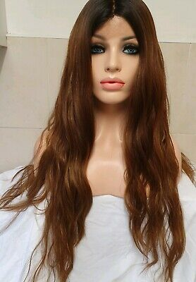 Human Hair Wig Light Red Brown Lace Front Wig Highlights