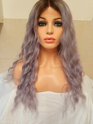 Purple Grey Silver Human Hair Wig Lace Front Ombre