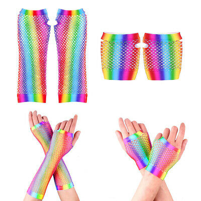 Women Rainbow Color Fishnet Gloves Sexy Mesh Fingerless Mittens Party Costume