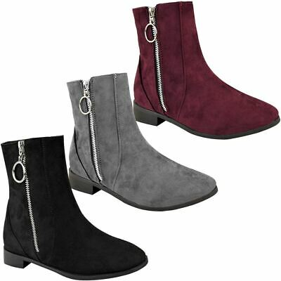 Womens Ladies Low Block Heel Ankle Boots Flats Casual Plain Winter Ring Zip Size