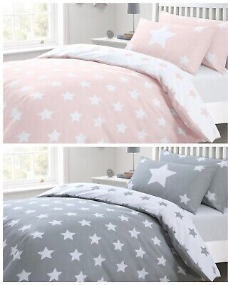 Reversible Toddler/Cot Bed Stars Duvet Cover & Pillowcase Bedding Set Pink/Grey