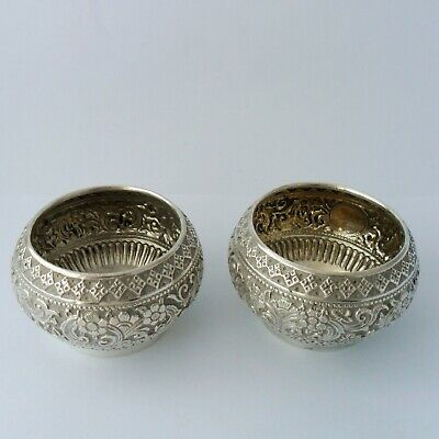 A pair of solid silver Victorian circular salts, London  1883
