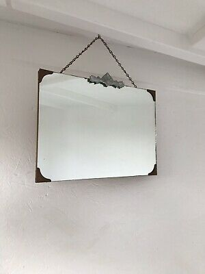 Small Vintage Frameless Mirror Lovely Mirror Art Deco Crested Bevelled Mirror
