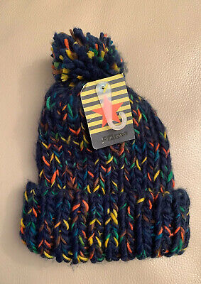 John Lewis Kids Space Dye Beanie Hat With PomPom /Multi /Chunky Knit Age 2-5 New
