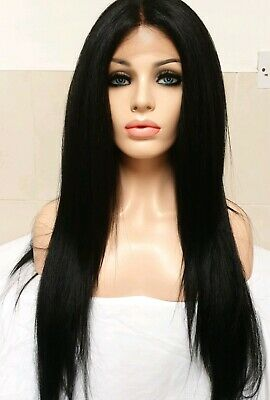 Black Human Hair Full Wig Lace Front Free Part Long silk based lace