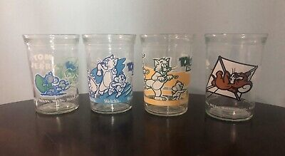 LOT OF 4 VINTAGE WELCH'S JELLY JUICE JAR GLASSES TOM & JERRY 1990s Warner Bros