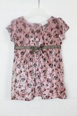Next Baby Girls Dusky Pink Velvet Style Floral Party Dress age 12-18 Months