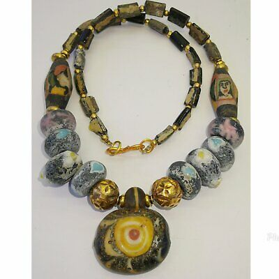 Old Wonderful Mosaic Glass face beads Lovely Pendant Necklace    # 54