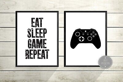 Gaming prints - Gamer - Xbox - PS4 - Quote, boys bedroom decor - Set of 2 Prints