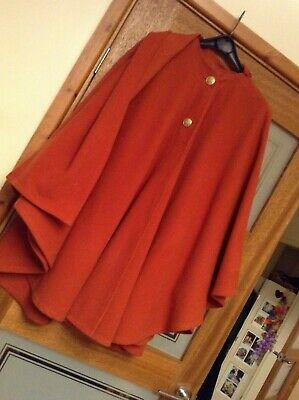 Vintage 60's :  MOD/Scooter : Cape Coat with Wrap Scarf in Burnt Orange