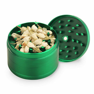 "4 Piece Herb Tobacco Grinder Smoke Crusher Metal Hand Muller Spice 2.5"" Green"
