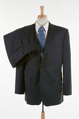JOS A BANK SIGNATURE PLATINUM Suit 42 L in Navy Blue Wool Tonal Twill Stripe