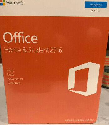 Sealed Microsoft Office Home & Student 2016 Windows, for 1 PC, English