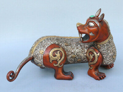 Chinese Exquisite Handmade beast copper Gilt statue
