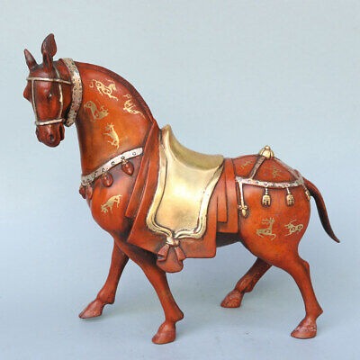 Chinese Exquisite Handmade horse copper Gilt statue