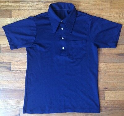 Vintage 1960's Men's Polo, Navy Blue W/Diamond Stitch Pattern, Men's Small