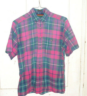 Men's Jos. A. Banks SHIRT Size M Short sleeve Madras style Teal Pink Plaid 15.5