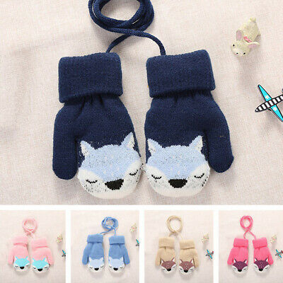 1 Pair Cartoon Fox Warm Knitted Gloves Wool Thick Plush Mitten for Baby Winter