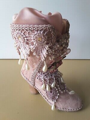 Old Fashioned Ladies Shoe Ornament  BEADED EMBROIDERED  Dressing Table HAT PINS