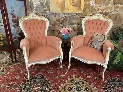 Pair [2x] Antique Vintage Florentine Louis Style Chair~Bergere~Armchairs~French