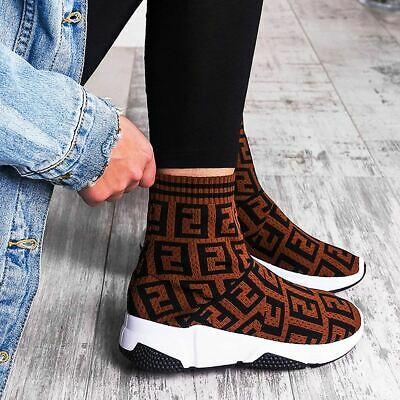 Womens Ladies Sock Trainers Fitted Ankle High Stretch Knit Bali Runners Sneakers