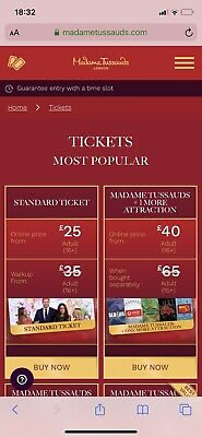 4 Tickets to  Madame Tussauds London valid On sat 7 Dec 330 Pm Booking