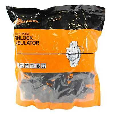 Gallagher Wood Post Pinlock Insulator G68704 Electric Fence Bag of 25