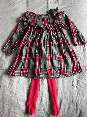 Next Girls grey Red Tartan Frill Christmas Dress 2-3 outfit with tights