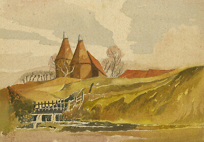 Patrick A. Faulkner, Oast Houses by Sluice Gate – Mid-20th-century watercolour