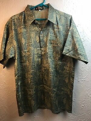 Nitaya Thai Silk Shirt Size Large Ancient Egyptian Theme gold blue short sleeve