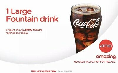 AMC Theaters 1 Large Fountain Drink Email Delivery Expires 6/30/20