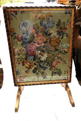 Edwardian Fire Screen / Folding Side Table - Glazed / Tapestry Design c 1910