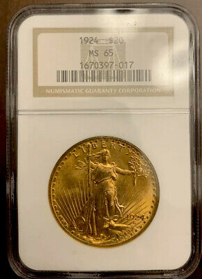 1924 $20 St. Gaudens Double Eagle Gold Coin NGC MS 65