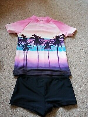 Next girls two piece sun safe, palm trees, size 4 years, good condition