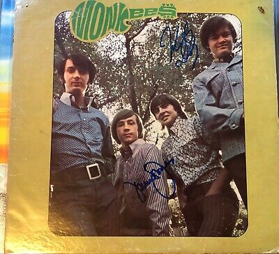 Autographed Monkees LP Record Album hand signed by Davy Jones, Mickey Dolenz