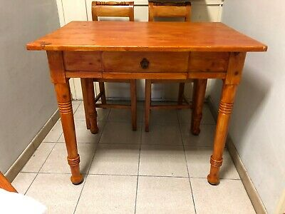 Antique 19th century rustic Pine dining set(table+4chairs)
