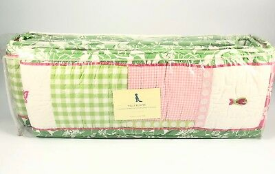 Pottery Barn Kids Kelly Crib Bumper Quilted Floral Flowers Pink Green White