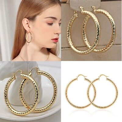 """2.1"""" Bling Earrings Hoop Geometry Party 18K Concave Filled Big L8 Gold"""