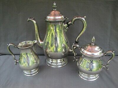 Sterling silver coffeepot, sugar and creamer set, Prelude by International