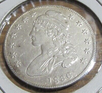 1836 50C Lettered Edge Capped Bust Half Dollar AU+ Scratch On reverse **