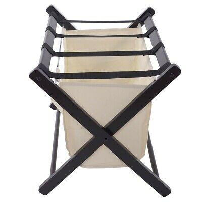 Wooden Folding Luggage Rack With Laundry Cloth Bag For Guest Room Convenience