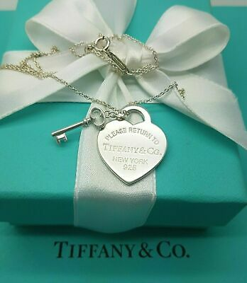 "Return to Tiffany & Co Sterling Silver Heart tag and Key 18"" Necklace"
