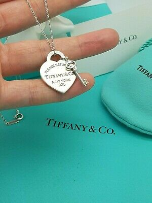 "Return to Tiffany & Co Heart tag and Key 16"" Necklace in Sterling Silver"