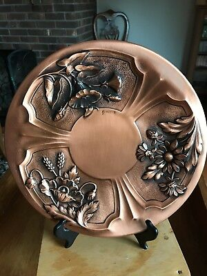 """COPPER Embossed 12"""" PLATE Arts & Crafts Signed Albert Gilles wall French  Vtg"""