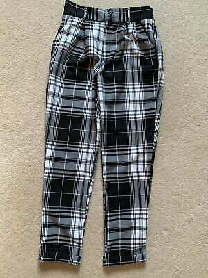 Girls New Look  Black And White Check Trousers  Age 12/13 New W/out Tags