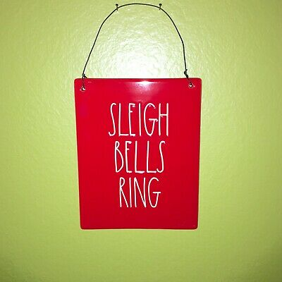 """New RAE DUNN Holiday Christmas LL """"SLEIGH BELLS RING"""" Red Sign By Magenta"""