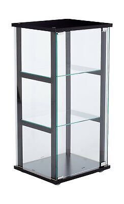 Coaster Curio Cabinet 3 Shelf Storage Clear Glass Pine Veneer Black 950179ii New