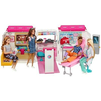Barbie Care Clinic Ambulance 2-In-1 Playset With Accessories Play For Ages 3Y+