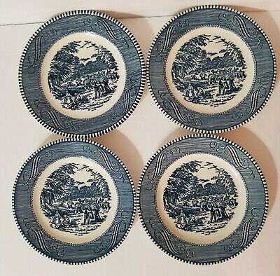 4 pcs CURRIER & IVES ROYAL CHINA BREAD / SALAD / DESSERT PLATES BLUE & WHITE